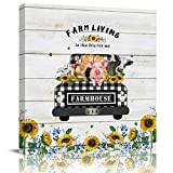 Wall Art Paintings on Canvas Print Farm Sunflower Buffalo Plaid Truck Pull Pig Chicken Cow Wood Grain Office Artwork Home Decoration Bedroom Bathroom Walls Decor,Wood Framed Ready to Hang 8x8in
