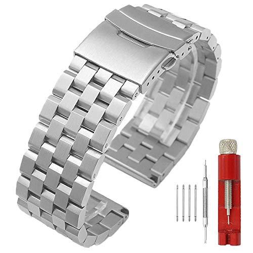 Kai Tian 26mm Armbanduhr Silber Prämie Matt 5 Reihen Doppelschlösser Edelstahl Uhrenarmband Ersatz Metall Uhrenband Band für Männer Frauen Armband für Damen Herren