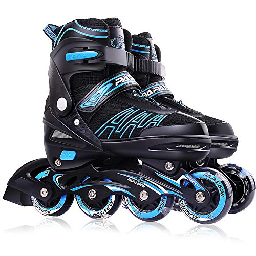 Inline Skates Für Kinder Und Erwachsene, Vierstufig Verstellbare Schuhgröße, Dreifacher Sicherheitsschutz, PU-Gummiräder, ABEC-7-Lager für Erwachsene Anfänger mädchen Jungen-Blau L