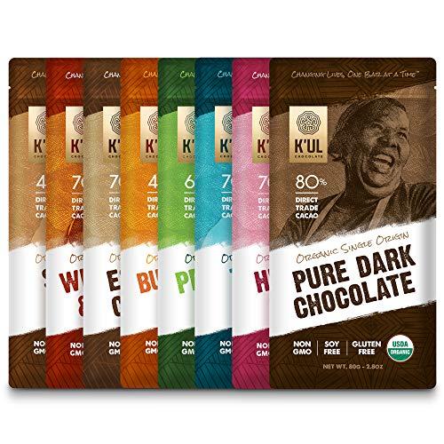 KUL CHOCOLATE Bars | Variety 8 Pack | Milk & Dark Chocolate | Organic, Soy-Free, Vegan, Gluten-Free, Non-Gmo, Direct Trade Dark Chocolate | 2.8oz Each
