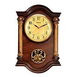 IMPORTED GIFT DEPOT Antique Linseng Wooden Pendulum Brown Wall Clock