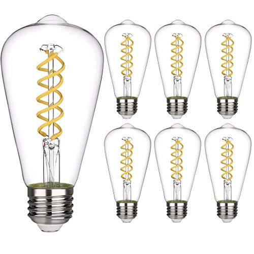 6 PCS iSoptox Dimmable Vintage LED Edison Bulbs, 6W, 60 Watt Equivalent, Cool Daylight White 5000K, Antique Flexible Spiral LED Filament Light Bulb, ST58 (ST19), 600 Lumens, E26 Base, Clear Glass