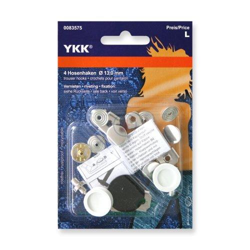 YKK 83575 Hosenhaken und Stege 13,0 mm silber, 4 Stück***BITTE PRODUKTBESCHREIBUNG BEACHTEN***