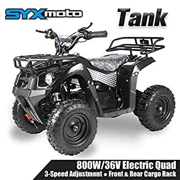 SYX MOTO 36V 800W Tank Kids Mini ATV Dirt Quad Electric Four-Wheeled Off-Road Ride on Vehicle 5-7.5-12.5mph with Reversing Switch Black