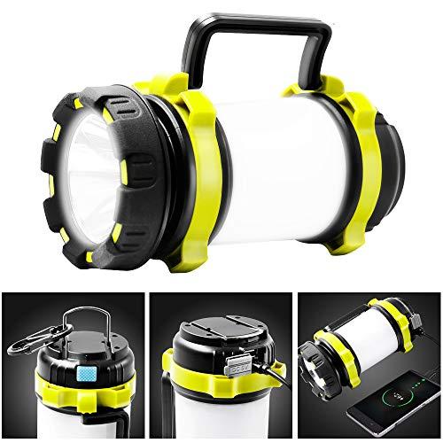 Lampe de Camping Rechargeable, Torche LED CREE 1000 Lumens avec 4 Modes d'éclairage UYIKOO Projecteur 2 en 1 et Banque d'alimentation 4000 mAh pour la Randonnée, la Pêche, Les Coupures de Courant etc.