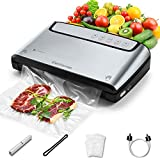 Elechomes Vacuum Sealer, Built-in Bag Storage and Cutter, 85KPA Powerful Suction Food Saver Machine, Dry and Moist Food Preservation with Bags and Roll Starter Kit, Easy to Clean, Brushed Stainless Steel