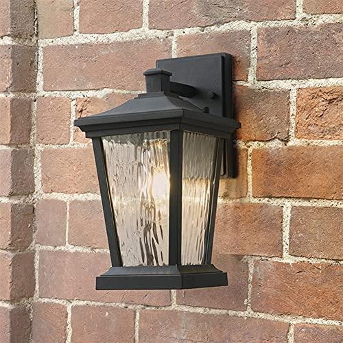 YBright American Glass Lantern Wall Sconence al aire libre impermeable material negro fundido de aluminio soporte E27 luz de zócalo con vidrio de agua decoración exterior lámpara de pared metal para p