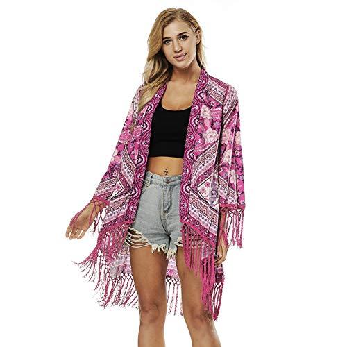 DOHAOOE Bikini para Mujer Cubrir Floral Boho Verano Cardigan Borla Irregular Kimono Blusa Suelta Chal Playa de Playa Verano 2019 (Rojo, L)