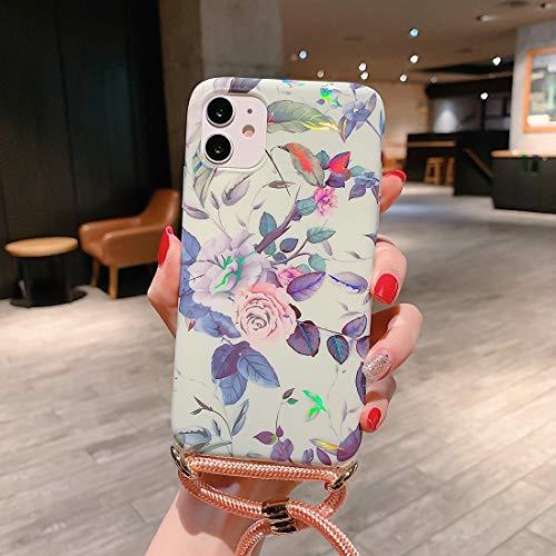 Xyamzhnn Funda telefónica para iPhone 11 Pro MAX Patrón láser TPU Suave TPU Protector con Correa de Hombro (Color : Rose)