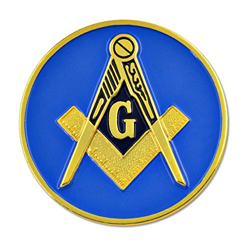 Square & Compass Round Masonic Auto Emblem - [Blue & Gold][3'' Diameter]