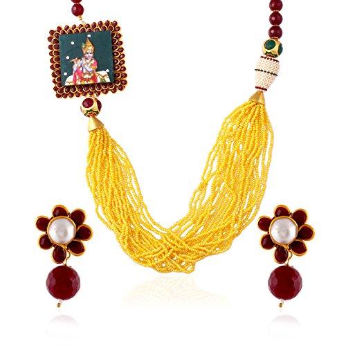 fasherati Krishna Anhänger mit Gelb Multi Perlen Halskette Set für Mädchen
