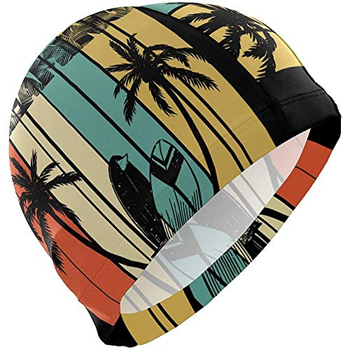 Bonnets de Bain Retro Summer Beach California Coconut Tree Swimming Cap HatBathing Shower Hair Cover