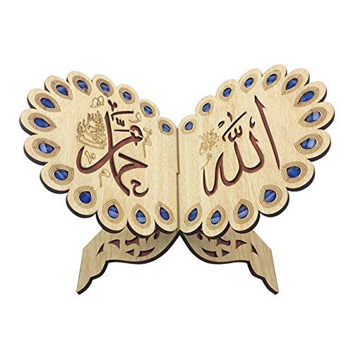Fiaoen - Soporte de madera para libros, diseño de ramadán Allah, hecho a mano, ideal para decoración de libros