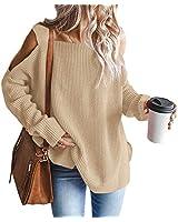MaQiYa Womens Cold Shoulder Oversized Sweaters Batwing Long Sleeve Chunky Knitted Winter Tunic Tops Khaki