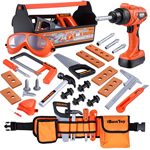 iBaseToy Kids Tool Set - 32 Pieces Pretend Play Construction Toy with Tool Box, Kids Tool Belt & Electronic Toy Drill, Toy Tool Set for Toddlers Boys Girls Ages 3 , 4, 5, 6, 7 Years Old