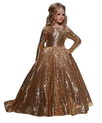 Mädchen Kleider Festliches Kleid Party Festkleid Pailletten Langarm Kinder Hochzeit Kleidung (Gold, 5)
