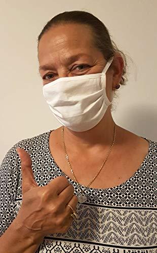 Demoniq Stoff-Maske, Mund-Nasen-Maske, schadstofffrei, aus 100% zertifizierter Baumwolle, mit Ohrträger, weiß | Gesichts-Maske, Unisex, waschbar