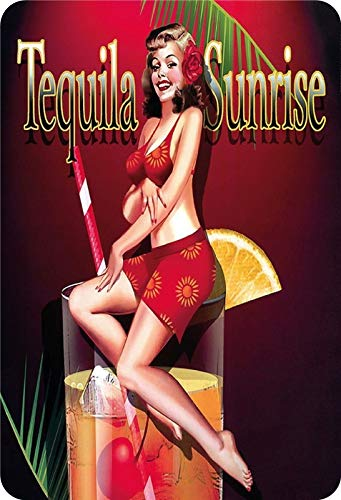 Metalen bord cocktail pinup sexy vrouw tequila Sunrise