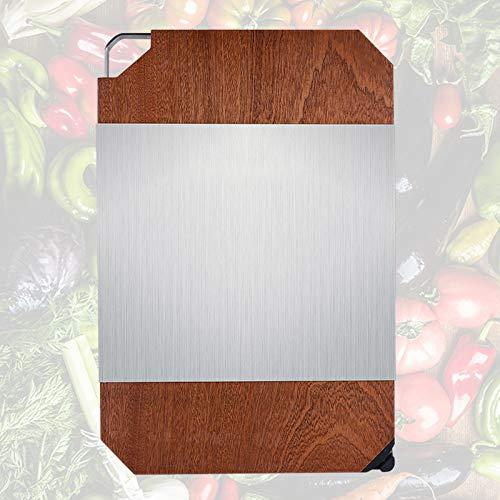 NPZBMGB Holzschneidebrett mit Griff und Wetzstein, Schneidebretter Doppelseitig mit Edelstahlplatte zum Kochen Backen Schneiden, Einfach zu Säubern 40x28x3cm