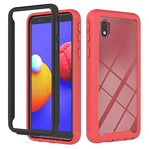Funda a prueba de golpes para el núcleo de Samsung Galaxy A01, protección transparente transparente de protección completa con marco de TPU de color, caja antideslizante compatible con Samsung Galaxy