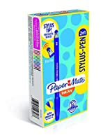(Assorted Colours, 12-Pack) - Paper Mate InkJoy 2 in 1 Stylus Ballpoint Pens, Medium Point, Assorted, Box of 12 (1951350)
