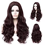 Dark Brown Long Wig for Girls Women,Winshope Costumes Wavy Hair Wigs Curly Natural Heat Resistant Synthetic Wig for Halloween Cosplay Party (Include Wig Cap)