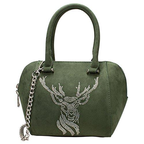 Alpenflüstern Trachten-Tasche Strassiger Hirsch grün DTA074