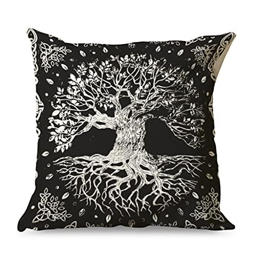 CCMugshop Funda de cojín vikinga con diseño de árbol de la vida y el árbol celta con impresión de nudos de algodón y lino, decorativa, para dormitorio, color blanco, 45 x 45 cm