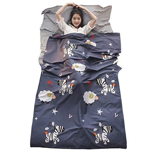 TRIWONDER Saco de Dormir Ligero Pórtatil Sábanas de Viajar para Excursiones Viajes Hotel Albergues Camping para 1/2/3 Personas Unisex (Azul Marino - Cebra, M - 120 x 230 cm)