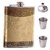 Riveryy Acero Inoxidable Petacas Personalizada de Alcohol Petaca 8 oz para Hombres 250 ml Cadera Frascos con Embudo Conjunto Patrón de Flor Dorada Adecuado para Whisky Transportar