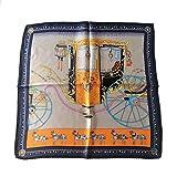 NOBRAND Seda magnífica carroza bufanda de seda bufanda cuadrada pequeña 53x53cm (20.9x20.9in) 100% seda