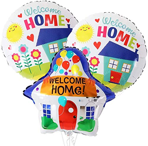 Welcome Home Balloons With House Shaped Balloons - 19 Inch | Welcome Home Decorations Military | Welcome Baby At Home Decoration | Housewarming, Back from Hospital Party Decor | Home Party Supplies
