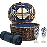 Unique Willow Picnic Basket for 2 Persons, Natural Wicker Picnic Hamper with Service Set and Insulated Cooler Bag - Best Gifts for Father Mother
