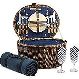 HappyPicnic Oval Picnickorb für 2 Personen mit Kühlfach und Besteck, Naturweide Picknickkoffer mit Decke, Dunkelblau