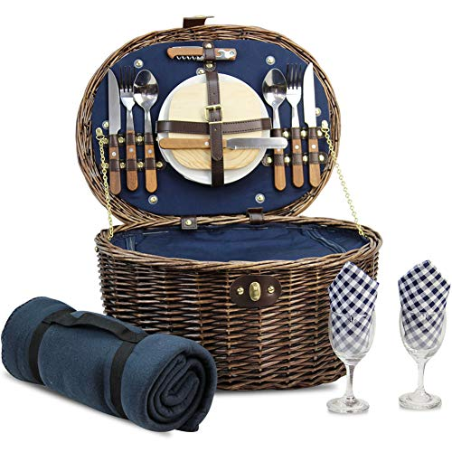 For Sale! Unique Willow Picnic Basket for 2 Persons, Natural Wicker Picnic Hamper with Service Set a...