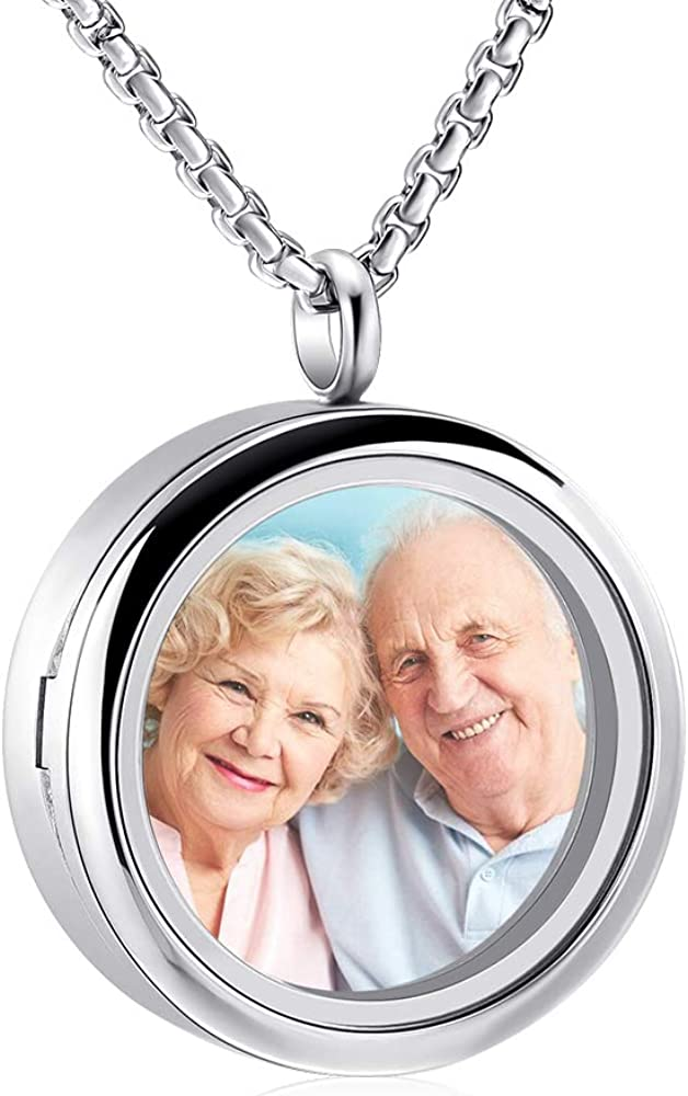 Oinsi Cremation Locket Necklace for Ashes of Loved One Carry Photo Glass Memorial Urn Jewelry 316L Stainless Steel Keepsake Gifts