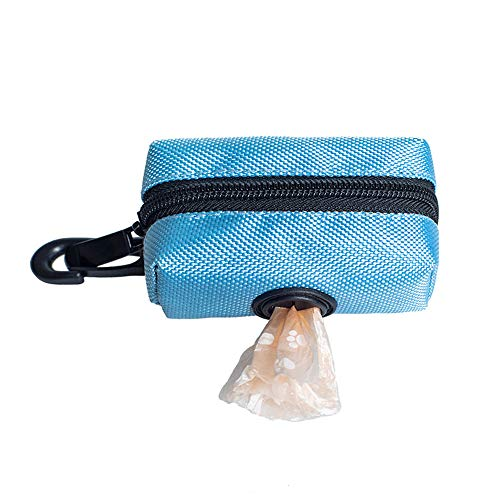 XQK Soporte para Bolsas De Caca De Perro, Bolsas De Desechos De Poliéster para Mascotas Multicolores, Bolsa De Gancho Portátil Bolsas De Recogida De Cachorros con Orificio Dispensador (Blue)