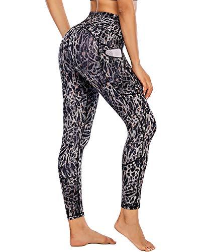 FAFAIR Leggings para mujer, pantalones de jogging con bolsillos, cintura alta, pantalones de fitness, pantalones de yoga, medias opacas, Mujer, Con estampado de leopardo gris., medium