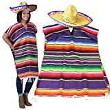 GIFTEXPRESS Mexican Poncho and Sombrero Set for Adults, Mexican Traditional Serape Poncho and Sombrero for Cinco de Mayo, Mexican Fiesta Theme Party Straw Sombrero with Serape Band, Adult Mexican Sera