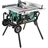 """Grizzly Industrial G0870-10"""" 2 HP Portable Table Saw with Roller Stand Green"""
