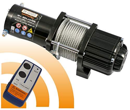 Power Series® 12V Elektrische Seilwinde 5000 Extreme - Mit Funkfernbedienung und Handschalter - Zugkraft 2268 kg (Stahlseil) / 4536 kg (mit Umlenkrolle). Ideal für Quads, Boot, ATV und auf der Jagd.