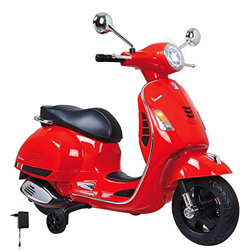 Jamara 460348 - Ride-on Vespa rood 12 V - Krachtige aandrijfmotor en accu voor lange rittijd, SD-kaartsleuf, AUX- en USB-aansluiting, rubberen ring op de wiel, steunwielen, LED-koplamp