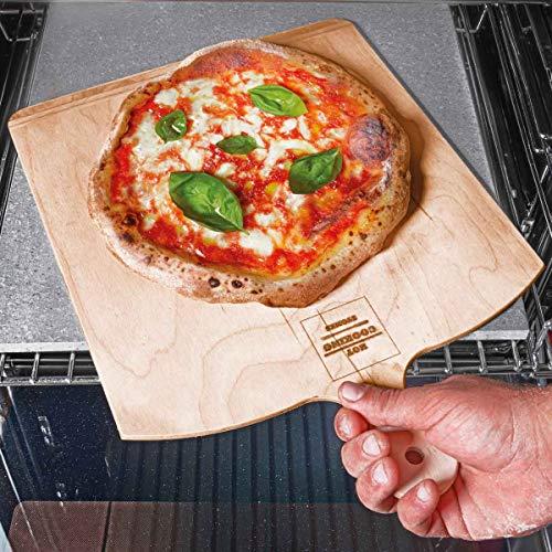 Set Piastra Pietra Lavica da Forno per Pizza Napoletana + Pala per Pizza Inclusa-30x30