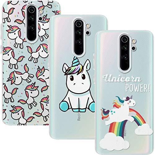 Young & Ming Funda para Xiaomi Redmi Note 8 Pro, (3 Pack) Transparente TPU Silicona Carcasa Delgado Antigolpes Resistente, Unicornio