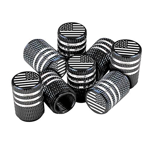 American Flag Tire Valve Stem Caps, 8 Pcs Anti-Theft Premium Metal Rubber Seal...