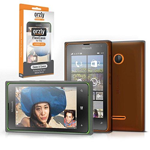 Orzly® - FlexiCase for LUMIA 435 - Protective Flexible Soft Gel Case - Silicon Phone Cover / HandyTasche / Schutzhülle / Gel Hülle Schütz in SCHWARZ Farbe - Entwurf exklusiv für MICROSOFT LUMIA 435 SmartPhone / Mobille Handy - (2015 Windows Phone Modell)