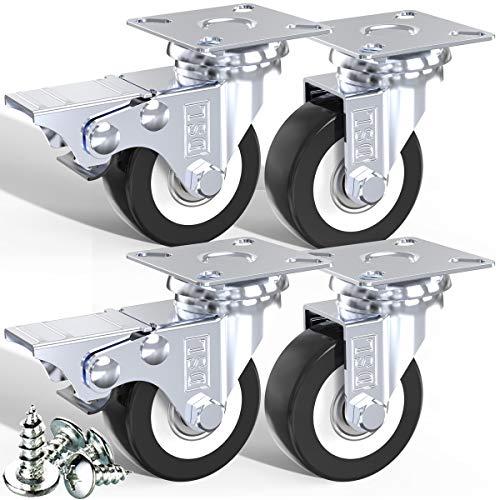 DSL – Lot de 4 roulettes pivotantes en PU à roulement à bille, 2 roulettes + 2 roulettes en caoutchouc avec frein, 50 mm, 240 kg