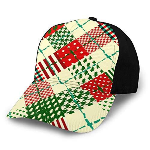 Fondo de Navidad sin costuras en estilo patchwork .56 Gorra deportiva con estampado de moda para hombres y mujeres Ba de algodón personalizado