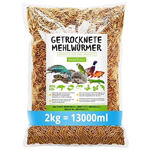 MeerBach Animal Mehlwürmer getrocknet • 2kg (entspricht 13 Litern!) Futtermittel im Beutel • der proteinreiche Snack für Wildvögel, Fische, Reptilien, Schildkröten und Igel
