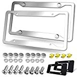 BGGTMO Stainless Steel License Plate Frames- 2 Pack Heavy Duty Polished Mirror Car Tag Cover with Chrome Screws Caps, 4 Holes Front & Rear Holders with Fasteners, Inserts, Rust/Rattle Proof Pads
